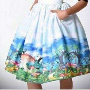 Unique Vintage Alice In Wonderland Skirt 2X